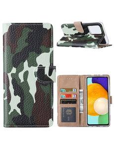 Ntech Samsung  A52 Hoesje Camouflage Legerprint - Galaxy A52 5G / 4G Boekcase Hoesje / Portemonnee cover - Camouflage Legerprint hoesje Samsung  Galaxy A52