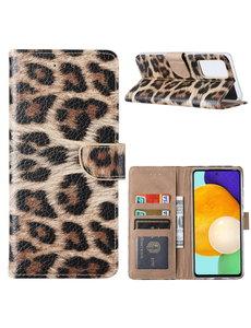 Ntech Samsung  A52 Hoesje Luipaard - Galaxy A52 5G / 4G Boek Hoesje / Portemonnee cover - Luipaard hoesje Samsung A52
