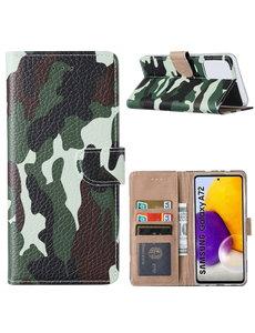 Ntech Samsung  A72 Hoesje Camouflage Legerprint -  Samsung Galaxy A72 5G / 4G Boekcase Hoesje / Portemonnee - Camouflage Legerprint hoesje Samsung A72
