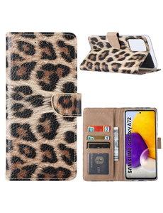Ntech Samsung  A72 Hoesje Luipaard - Galaxy A72 5G / 4G Boek Hoesje / Portemonnee - Luipaard hoesje Samsung A72