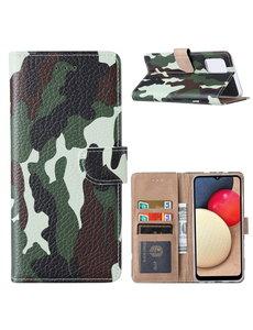 Ntech Samsung  A02S Hoesje Camouflage Legerprint - Samsung Galaxy A02s Boekcase Hoesje / Portemonnee cover - Camouflage Legerprint hoesje voor Samsung A02s