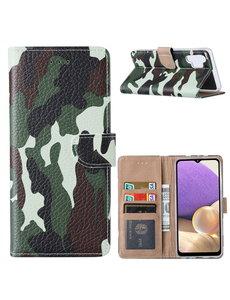 Ntech Samsung  A32 Hoesje Camouflage Legerprint - Samsung Galaxy A32 5G Boekcase  / Portemonnee Hoesje -  Camouflage Legerprint hoesje Samsung A32 5G