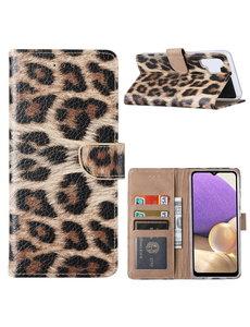 Ntech Samsung  A32 Hoesje Luipaard - Galaxy A32 4G Boek Hoesje / Portemonnee cover - Luipaard hoesje Samsung A32