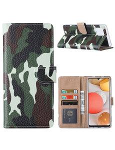 Ntech Samsung  A42 Hoesje Camouflage Legerprint - Samsung Galaxy A42 5G Boekcase  / Portemonnee Hoesje -  Camouflage Legerprint hoesje Samsung A42 5G
