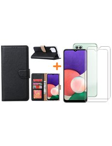 Ntech Samsung A22 5G hoesje bookcase Zwart - Samsung Galaxy A22 5G hoesje portemonnee  boek case - A22 book case hoes cover - Galaxyt A22 5G screenprotector / 2X tempered glass
