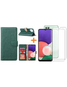 Ntech Samsung A22 5G hoesje bookcase Groen - Samsung Galaxy A22 5G hoesje portemonnee  boek case - A22 book case hoes cover - Galaxyt A22 5G screenprotector / 2X tempered glass