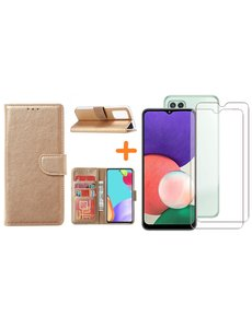 Ntech Samsung A22 5G hoesje bookcase Goud - Samsung Galaxy A22 5G hoesje portemonnee  boek case - A22 book case hoes cover - Galaxyt A22 5G screenprotector / 2X tempered glass