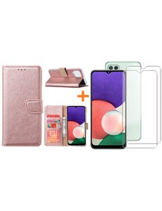 Ntech Samsung A22 5G hoesje bookcase Rose Goud - Samsung Galaxy A22 5G hoesje portemonnee  boek case - A22 book case hoes cover - Galaxyt A22 5G screenprotector / 2X tempered glass