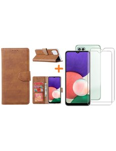 Ntech Samsung A22 5G hoesje bookcase Bruin - Samsung Galaxy A22 5G hoesje portemonnee  boek case - A22 book case hoes cover - Galaxyt A22 5G screenprotector / 2X tempered glass