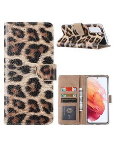 Ntech Samsung S21 Hoesje Luipaard - Samsung Galaxy S21 Boekcase  / Portemonnee Hoesje - Luipaard hoesje Samsung S21 5G