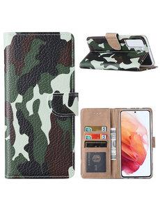 Ntech Samsung  S21 Hoesje Camouflage Legerprint - Samsung Galaxy S21 5G Boekcase  / Portemonnee Hoesje -  Camouflage Legerprint hoesje Samsung S21 5G