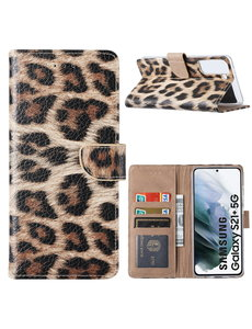 Ntech Samsung S21 Plus Hoesje Luipaard - Samsung Galaxy S21 Plus Boekcase  / Portemonnee Hoesje - Luipaard hoesje Samsung S21 Plus