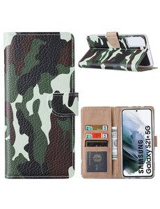 Ntech Samsung  S21 Plus Hoesje Camouflage Legerprint - Samsung Galaxy S21 Plus 5G Boekcase  / Portemonnee Hoesje -  Camouflage Legerprint hoesje Samsung S21 Plus