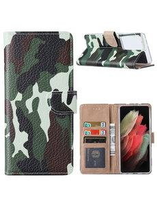 Ntech Samsung  S21 Ultra Hoesje Camouflage Legerprint - Samsung Galaxy S21 Ultra 5G Boekcase  / Portemonnee Hoesje -  Camouflage Legerprint hoesje Samsung S21 Ultra
