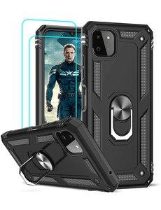 Ntech Samsung A22 Hoesje  Anti-Shock Hybrid Armor hoesje Zwart - Samsung Galaxy A22 5G  kickstand Ring houder TPU backcover hoesje - met screenprotector  Galaxy A22 5G - 2 pack