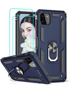 Ntech Samsung A22 Hoesje  Anti-Shock Hybrid Armor hoesje Blauw - Samsung Galaxy A22 5G  kickstand Ring houder TPU backcover hoesje - met screenprotector  Galaxy A22 5G - 2 pack