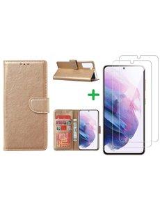 Ntech Samsung S21 FE hoesje bookcase Goud - Samsung Galaxy S21 FE hoesje portemonnee  boek case - S21 FE book case hoes cover - Galaxyt S21 FE screenprotector / 2X tempered glass