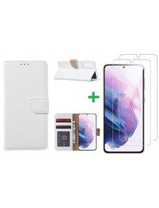 Ntech Samsung S21 FE hoesje bookcase Wit - Samsung Galaxy S21 FE hoesje portemonnee  boek case - S21 FE book case hoes cover - Galaxyt S21 FE screenprotector / 2X tempered glass