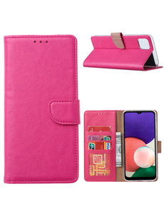 Ntech Samsung A22 hoesje bookcase Pink - Samsung Galaxy A22 5G hoesje portemonnee wallet case -  Hoesje A22 5G book case hoes cover