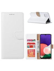 Ntech Samsung A22 hoesje bookcase Wit - Samsung Galaxy A22 5G hoesje portemonnee wallet case -  Hoesje A22 5G book case hoes cover