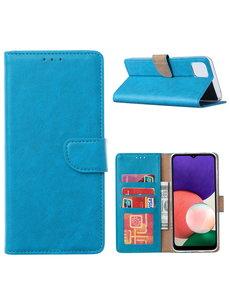 Ntech Samsung A22 hoesje bookcase Blauw - Samsung Galaxy A22 5G hoesje portemonnee wallet case -  Hoesje A22 5G book case hoes cover