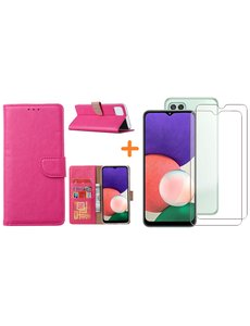 Ntech Samsung A22 5G hoesje bookcase Pink - Samsung Galaxy A22 5G hoesje portemonnee  boek case - A22 book case hoes cover - Galaxyt A22 5G screenprotector / 2X tempered glass