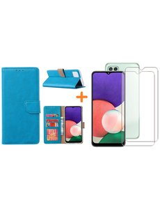 Ntech Samsung A22 5G hoesje bookcase Blauw - Samsung Galaxy A22 5G hoesje portemonnee  boek case - A22 book case hoes cover - Galaxyt A22 5G screenprotector / 2X tempered glass