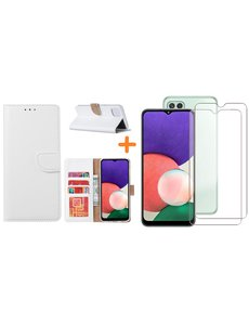 Ntech Samsung A22 5G hoesje bookcase Wit - Samsung Galaxy A22 5G hoesje portemonnee  boek case - A22 book case hoes cover - Galaxyt A22 5G screenprotector / 2X tempered glass