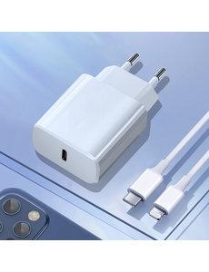Ntech USB C Oplader / USB C Lader / USB C Stekker - Ntech - met Lightning naar USB-C kabel (1 meter) Geschikt voor iPhone 12 / 12 Pro / !23 Pro Max / iPhone 11 / 11 Pro / 11 Pro Max