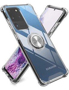 Ntech Samsung S20 Ultra hoesje - Luxe TPU Backcover Clear - Samsung Galaxy S20 Ultra met Ring houder / Ring vinger houder / standaard