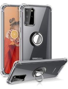 Ntech Samsung S20 Plus hoesje - Luxe TPU Backcover Clear - Samsung Galaxy S20 Plus met Ring houder / Ring vinger houder / standaard