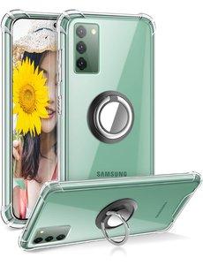 Ntech Samsung S20 hoesje - Luxe TPU Backcover Clear - Samsung Galaxy S20 met Ring houder / Ring vinger houder / standaard