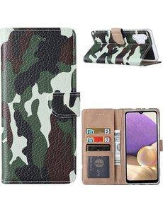 Ntech Samsung  A32 Hoesje Camouflage Legerprint - Samsung Galaxy A32 4G Boekcase  / Portemonnee Hoesje -  Camouflage Legerprint hoesje Samsung A32 4G