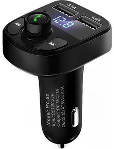 Merkloos Bluetooth Carkit FM Transmitter om Handsfree te Bellen en Draadloos Muziek te Streamen, Met Volumeknop en Oplaadfunctie Voor 2 Telefoons Tegelijkertijd   Display   Handsfree Bellen   USB Oplader   MP3 Speler   Bluetooth   Aux   TF-Kaart   HY-82