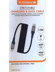 xssive Xssive Uitrekbaar Kabel USB Type-C to iPhone - iPad - iPod - 1.5 meter -ZWART