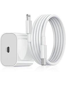 Ntech USB-C Adapter - met Lightning naar USB-C kabel Ntech (1 meter) Geschikt voor IPhone 13- IPHONE 13 PRO - IPHONE 13 PRO MAX- iPhone Lader / iPhone oplader  / iPhone Kabel / Adapter WIT