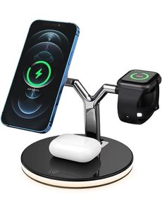 Merkloos 3-in-1 Draadloze oplader  voor Apple iPhone 12 en iPhone 13 / Wireless charger / QI snellader voor smartphone, watch & earpods tegelijk / 2021 design / iPhone, Samsung, smartwatch, airpods