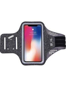 Ntech Premium Sportarmband - Universele Hardloop Armband Stof - iPhone, Samsung & Huawei - Smartphonehouder - Reflecterend, Spatwaterdicht, Sleutelhouder, Verstelbaar - Lycra - Grijze Sportarmband