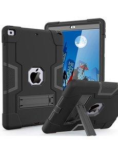 Ntech iPad 2021 Hoes - iPad 2020 hoes - Hoes iPad 2019  - iPad 10.2 hoes  - Schokbestendige Back Cover met kicktand - Hybrid Armor Case Zwart