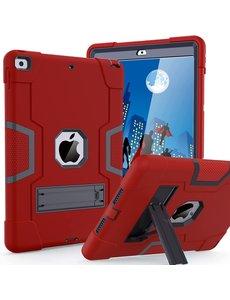 Ntech iPad 2021 Hoes - iPad 2020 hoes - Hoes iPad 2019  - iPad 10.2 hoes  - Schokbestendige Back Cover met kicktand - Hybrid Armor Case Rood