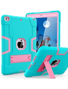 Ntech iPad 2021 Hoes - iPad 2020 hoes - Hoes iPad 2019  - iPad 10.2 hoes  - Schokbestendige Back Cover met kicktand - Hybrid Armor Case Mint / Pink
