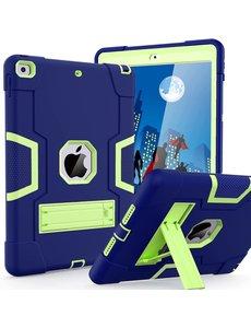 Ntech iPad 2021 Hoes - iPad 2020 hoes - Hoes iPad 2019  - iPad 10.2 hoes  - Schokbestendige Back Cover met kicktand - Hybrid Armor Case Blauw / Groen
