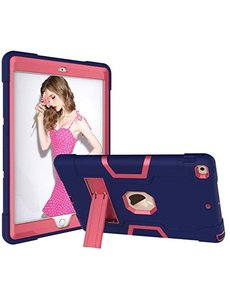 Ntech iPad 2021 Hoes - iPad 2020 hoes - Hoes iPad 2019  - iPad 10.2 hoes  - Schokbestendige Back Cover met kicktand - Hybrid Armor Case Blauw / Pink