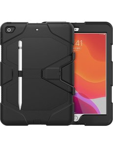 Ntech iPad 2021 Hoes - iPad 2021 Screenprotector- Hoes iPad 2021  - Screenprotector iPad 2021 - 10.2 Inch - iPad Hoes 2021 - iPad 2019 Hoes Extreme Robuuste Armor Case Hoesje Tablethoes Zwart