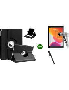 Ntech iPad 2021 hoes - iPad 2020 hoes draaibaar - iPad 2019 hoes - iPad 10.2 hoes + screenprotector - tempered glass + stylus pen - Zwart