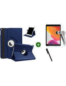 Ntech iPad 2021 hoes - iPad 2020 hoes draaibaar - iPad 2019 hoes - iPad 10.2 hoes + screenprotector - tempered glass + stylus pen - Donkerblauw