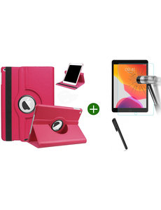 Ntech iPad 2021 hoes - iPad 2020 hoes draaibaar - iPad 2019 hoes - iPad 10.2 hoes + screenprotector - tempered glass + stylus pen - Pink