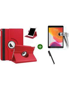 Ntech iPad 2021 hoes - iPad 2020 hoes draaibaar - iPad 2019 hoes - iPad 10.2 hoes + screenprotector - tempered glass + stylus pen - Rood