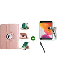 Ntech iPad 2021 hoes - iPad 2020 hoes draaibaar - iPad 2019 hoes - iPad 10.2 hoes + screenprotector - tempered glass + stylus pen - Rosegoud