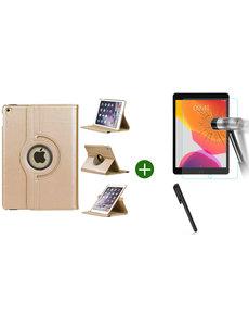 Ntech iPad 2021 hoes - iPad 2020 hoes draaibaar - iPad 2019 hoes - iPad 10.2 hoes + screenprotector - tempered glass + stylus pen - Goud